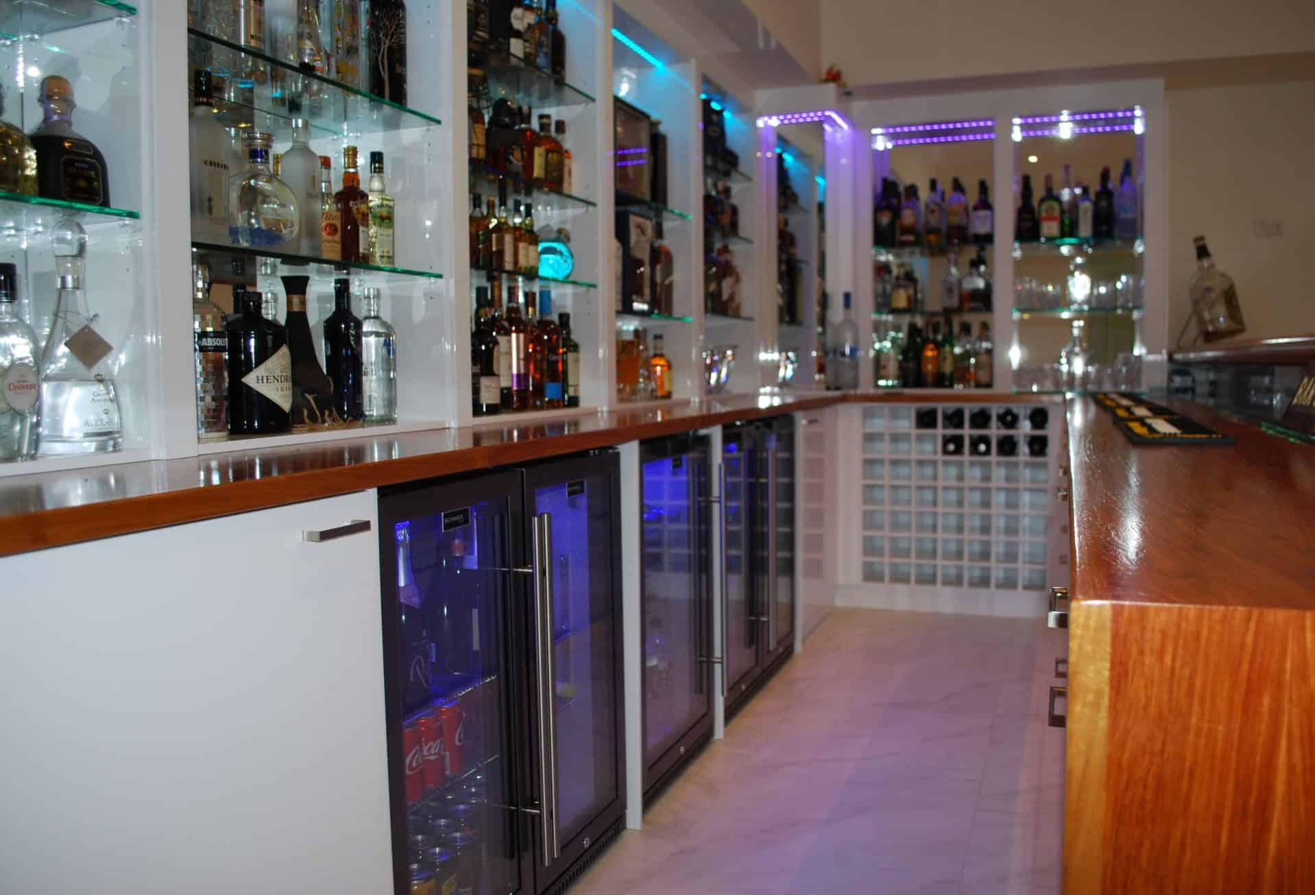 Custom bar with bar fridges