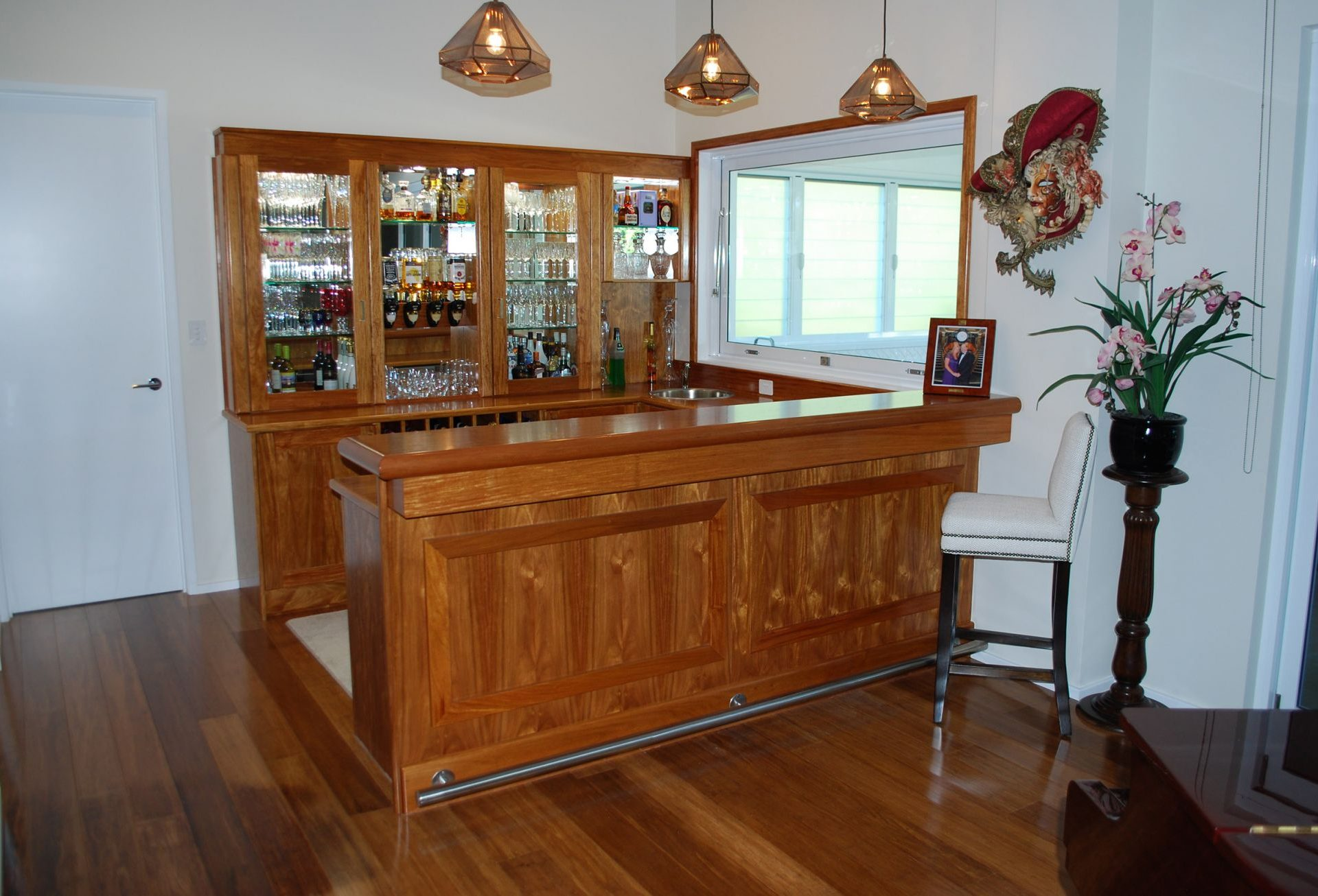 Corner custom built wooden bar unit
