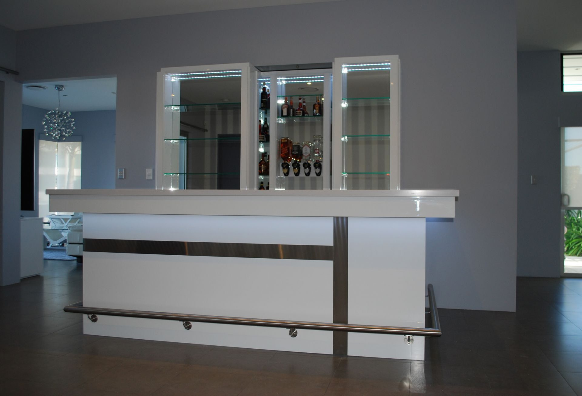 white custom made home bar